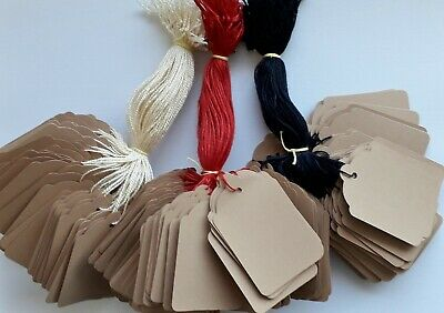 100 Buff Strung Price Tags 69mm X 44mm Swing Tickets Gift Labels Coloured String • 2.50£