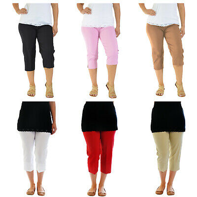 Ladies Bengaline 3/4 Three Quarter Trousers Stretch Elasticated Waist Crop Pants • 8.99£