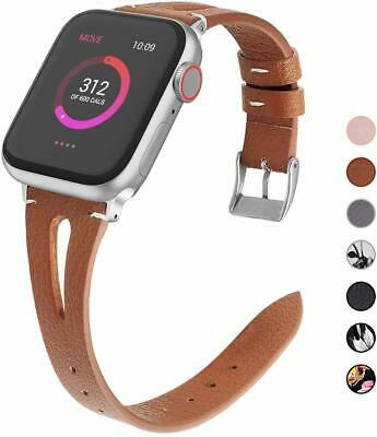 AU7.99 • Buy Thin Genuine Leather Band For Apple Watch 38mm 42mm 40mm 44mm Series 5 4 3 2 1