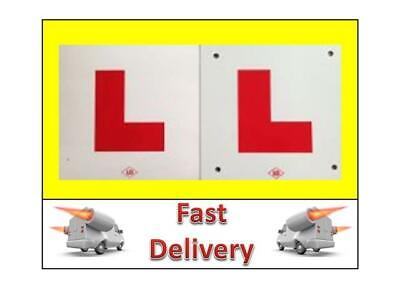 2 L PLATES MOTORCYCLE SCOOTER CAR LORRY VAN QUAD 1 X HARD PLASTIC 1 X STICK ON • 3.49£