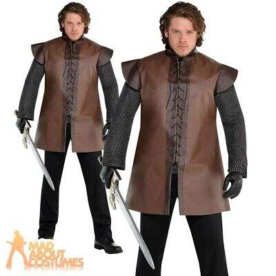 Adult Mens Medieval Warrior Tunic Costume Plus Size Viking Fancy Dress Outfit • 13.49£