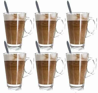 £9.99 • Buy 6 X 240ML LATTE GLASSES TEA COFFEE CAPPUCCINO GLASS CUPS HOT DRINK MUGS W SPOONS