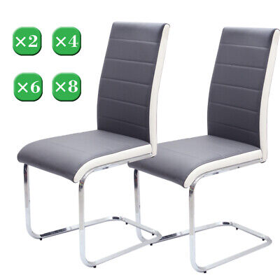 £152.95 • Buy 2 4 6 8 Dining Kitchen Room Chair Faux Leather Z Shape Chrome Legs Chairs Seat