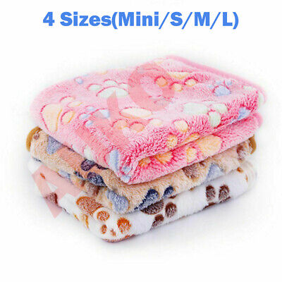AU6.99 • Buy 60x40cm Warm Pet Mat Paw Print Cat Dog Puppy Fleece Soft Blanket Bed Cushion