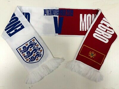 England Vs Montenegro Football Friendship 1/2 Scarf - Red/White - New • 4.99£