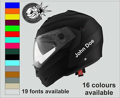 2 Personalised Name Stickers Motorbike Helmet Vinyl Decals Bike Crash Helmet  • 1.95£