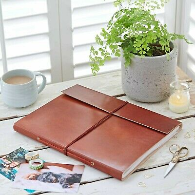 Fair Trade Handmade Plain Extra Large Leather Photo Album - 2nd Quality • 14.95£