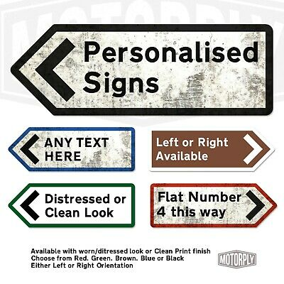 Metal Wall Sign - Personalised UK Road Direction Arrow - Custom Left Right Point • 12.99£