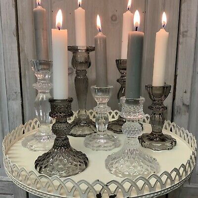 £9.89 • Buy Glass Cut Candlestick Dinner Candle Holder Vintage French Country Grey Smoke