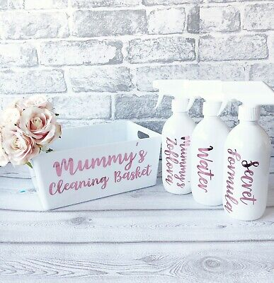 Personalised Spray Bottle Caddy, Cleaning Kit Basket Zoflora Cleaning Box Basket • 5£