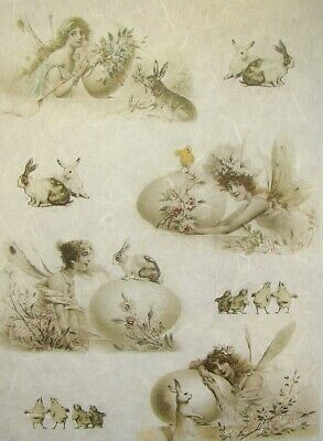 Rice Paper For Decoupage Scrapbook And Craft Easter Angels Bunny 263 • 1.79£