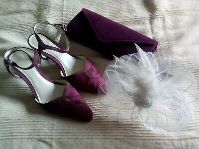 BHS Magenta Shantung Shoes (4) With Clutch Bag & Fascinator *wedding/occasion* • 39.99£