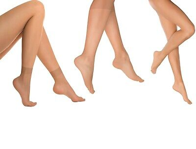 Sexy Ladies SKIN COLOUR Tights Pantyhose Knee Highs Anklets Socks (6 & 10 PAIRS) • 5.49£