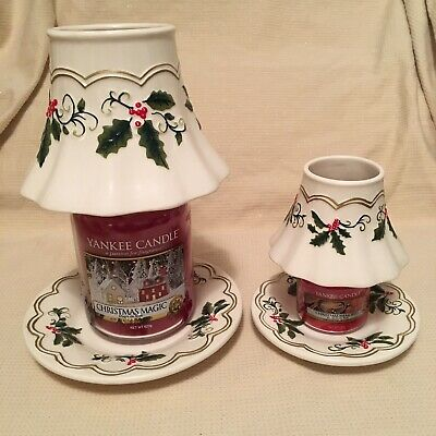Matching Yankee Candle Christmas Holly & Berries Shade & Plate Set Small & Large • 34.99£