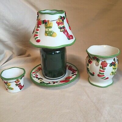 Yankee Candle Christmas Stockings Jar Shade & Plate Set Melt Tart Warmer Votive • 39.99£