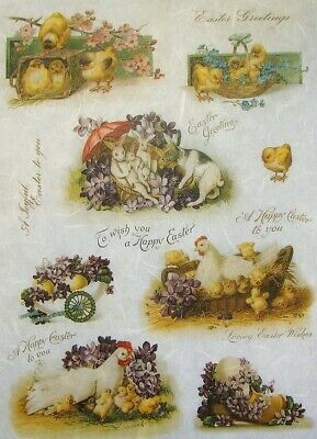 Rice Papers Decoupage Scrapbook And Craft Easter Chicken Bunny Flowers 343 • 1.79£