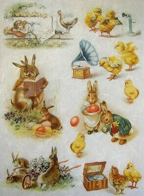 Rice Papers Decoupage Scrapbook And Craft Easter Chicken Bunny 389 • 1.79£