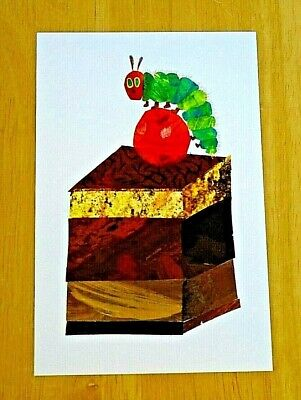 Eric Carle Postcard ~ The Very Hungry Caterpillar On A Piece Of Chocolate Cake • 1.25£