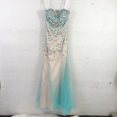 £57.91 • Buy Terani Couture Ice Blue Nude Tulle Mermaid Beaded Maxi Prom Dress Size: 2 Teen