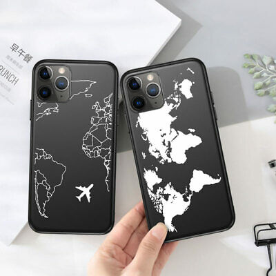 Ultra Slim Thin World Map Rubber Shockproof Case Cover For IPhone 7 8 11 Pro Max • 1.99£