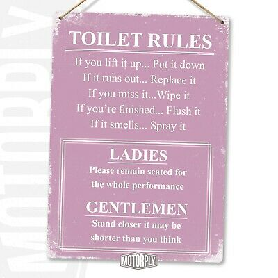 Metal Wall Sign - Toilet Rules Pink - Funny Joke Gift Humour House • 6.89£