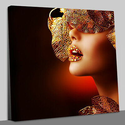£18 • Buy Sexy Gold Lips.Fashion Art Portrait Canvas Wall Art Picture Print