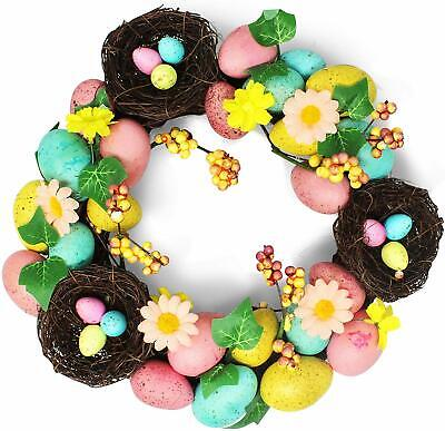 Easter Egg Wreath Spring Wreath Easter Egg Flowers Hanging Decorations Floral • 13.49£