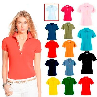 New Ladies Polo Shirt Short Sleeve Women Plain Pique Classic Top T Shirt Lot  • 4.99£
