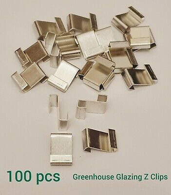 Greenhouse Spare Parts Z Glazing Glass Clips Panel Fixing Pack Of 100 Pcs • 4.99£
