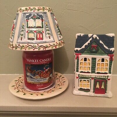 Yankee Candle Shoppe Christmas Village Shade Plate Set & Tart Wax Warmer Rare • 49.99£