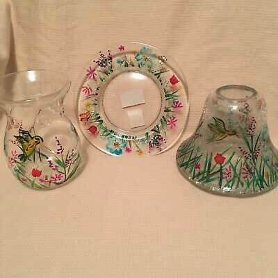 Yankee Candle Garden Crackle Jar Shade & Plate Set Melt Tart Warmer Butterfly • 39.99£