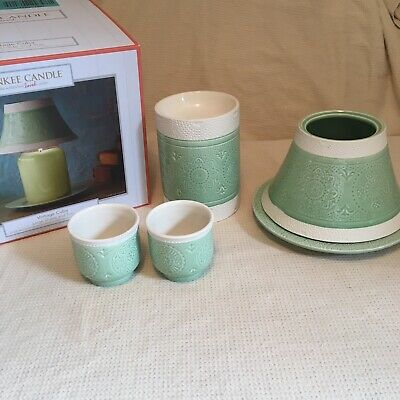 Yankee Candle Shade & Plate Set Fit Medium Or Large Jar 2 Votives Tart Warmer • 25£
