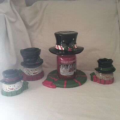 Very Rare Htf Christmas Yankee Candle Top Hat & Scarf Set Shade Plate Warmer ... • 89.99£