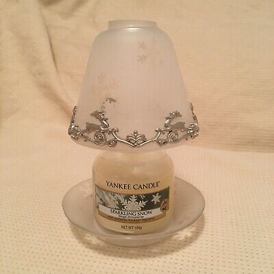 Rare Christmas Yankee Candle Small Shade & Plate Set Silver Reindeer Trim & Jar • 29.99£