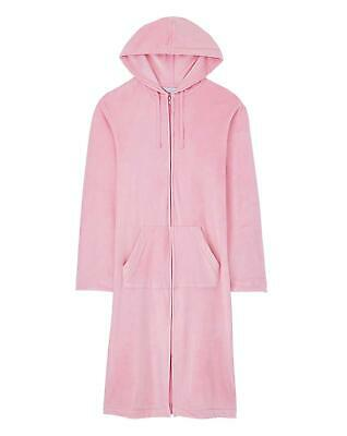Pink Hooded Velour Zip Robe, Dressing Gown, Cover Up L42  ~  Size 16/18 Or 20/22 • 18.99£