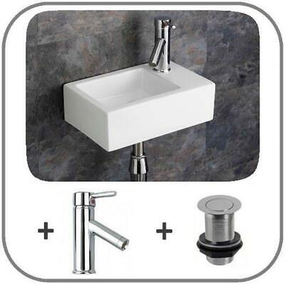 £109 • Buy Wall Mounted Cloakroom Narrow Sink  Basin Right Hand 370mm By 235mm Inc Tap