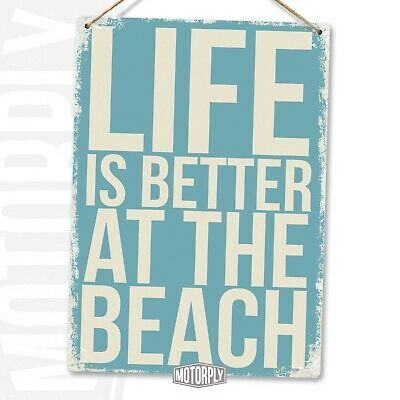 Metal Wall Sign - Life Is Better At The Beach - Holiday Fun Sand Memories Family • 8.89£