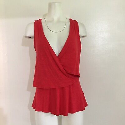 $ CDN33.95 • Buy Deletta Womens Top Anthropologie S Small Red Crossover Ruffle Peplum