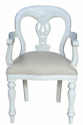 French White Arm Chair With Rattan H91cm X W57cm X D49cm Wooden Dining Carver • 499£