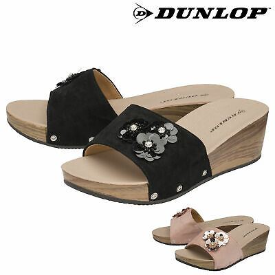 Dunlop Ladies Womens Sandals Wedge Heeled Floral Slip On Shoes Sizes 3-8 • 9.99£