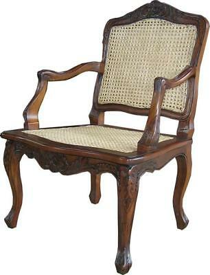French Arm Chair With Rattan  H 110cm X W 63cm X D 52cm Wooden Dining Carver • 499£
