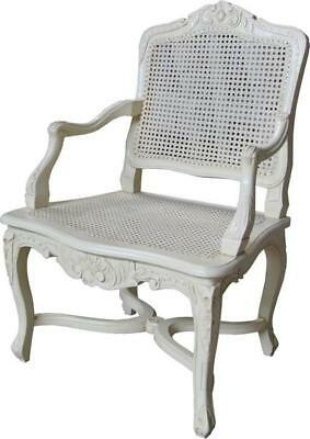 French White Arm Chair With Rattan  H110cm X W63cm X D52cm Wooden Dining Carver • 599£
