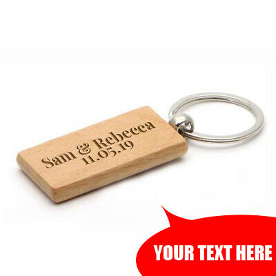 Personalised Laser Engraved Wooden Key Fobs Keyrings Keychains Key Tags Labels  • 3.49£