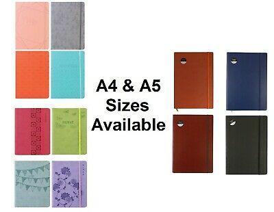 A4/A5 Soft Touch Notebook Lined Ruled Journal Notepad Office School Various • 3.99£