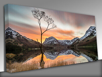 Sunrise Mountains Lake District Panoramic Canvas Wall Art Picture Print • 39£