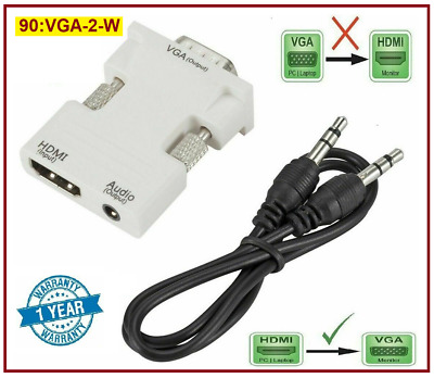 HDMI Female To VGA Male With Audio Output Cable 1080p Converter Adapter Lead • 3.65£