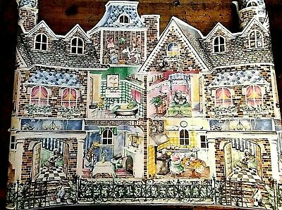 $15 • Buy Child's Room Or Nursery Half Wall Sculptured Wallpaper, Animals & Houses - New