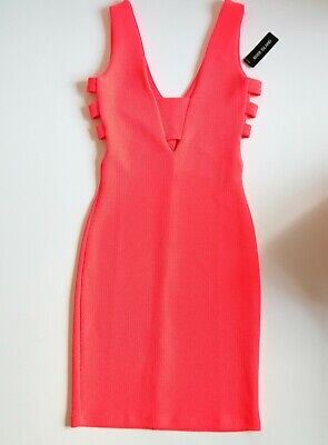 ✮ RIVER ISLAND ✮ Neon Pink Coral Cut Out Sides Bodycon Sexy Party Dress | Size 6 • 14.99£