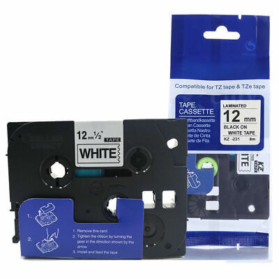 £33.52 • Buy Label Tape Fits Brother TZ-231 P-Touch Black On White 12mm X 8m TZe-231 GL-H105