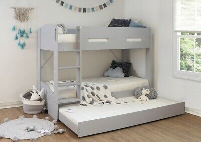 £489 • Buy Childrens Grey Bunk Bed With Pullout Guest Bed